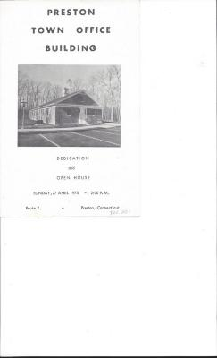 Preston Town Office Building Dedication and Open House booklet