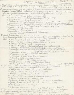 Genealogical notes for the Avery Family taken from Wheeler's History of Stonington