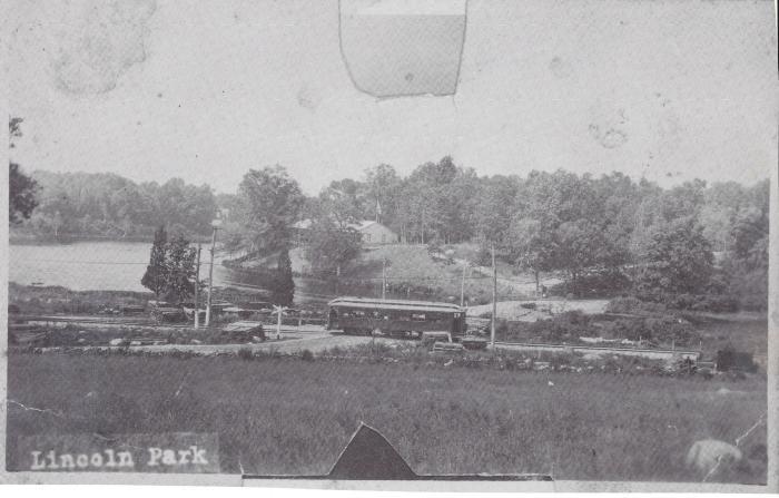 Photograph of trolley near Lincoln Park, Hallville, Preston