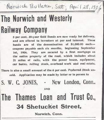The Norwich and Westerly Railway Company ad for gold bonds