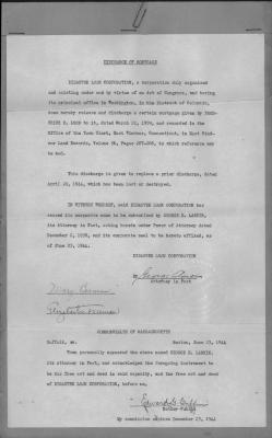 Discharge of Mortgage, given by Frederick E. Lord to Disaster Loan Corporation.