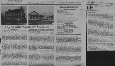 Newspaper article about the Scantic Academy Museum