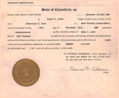 Two Certified Probate Certificates