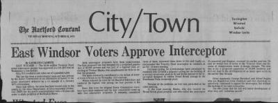 Newspaper article re Sewer Interceptor.