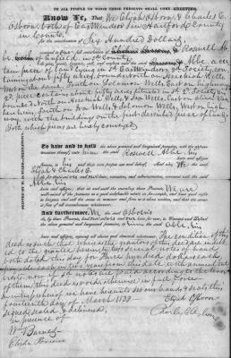 Deed. Sale of about 50 acres by Elijah Osborn and Charles E. Osborn to Roswell Abbe.