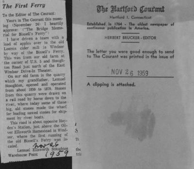 """Newspaper clipping, titled """"The First Ferry"""", Letter to the Editor, Hartford Courant, Nov. 26, 1959."""