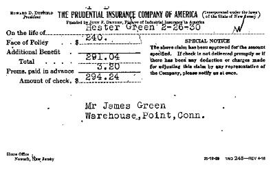 A receipt from the Prudential Insurance Company of America