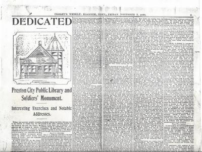 Dedicated  Preston City Public Library and Soldiers' Monument