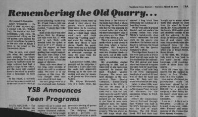 """Remembering the Old Quarry"". Newspaper article"