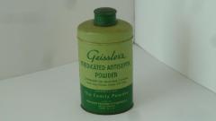 """Tin can, """"Geissler's Medical Powder"""", Broad Brook, CT, circa 1935"""