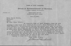 Offer of employment in the East Windsor School system to Miss Sarah Usher of Milford, Mass., October 2, 1925.