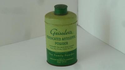 "Tin can, ""Geissler's Medical Powder"", Broad Brook, CT, circa 1935"