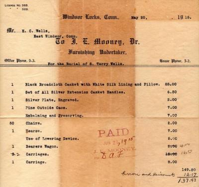 Funeral costs, S. Terry Wells