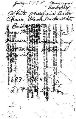 Original Notes regarding loan. White Porcelain Barber Chair, Black leather seat, built 1923.