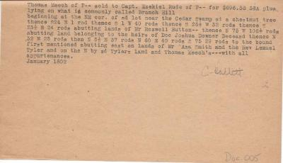 Land deal between Thomas Meech and Capt. Ezekiel Rude