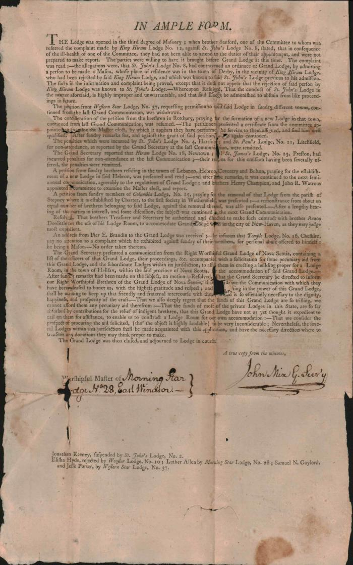 Proceedings of the Grand Lodge of Connecticut  (Masonic) Dated  Wednesday October  20, 1802   New Haven
