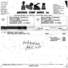 Hartford Stamp Works, Inc. paid invoice for brass pate for John William Middleton. Copy of a letter to Hartford Stamp Co., to show Ellsworth Stoughton that William Middleton paid the bill.
