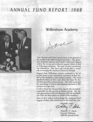 Annual Fund Report 1968 - Wilbraham Academy + letters and postcards.