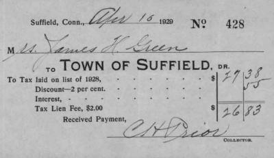 Receipt from the Town of Suffield to James H. Green for taxes paid.
