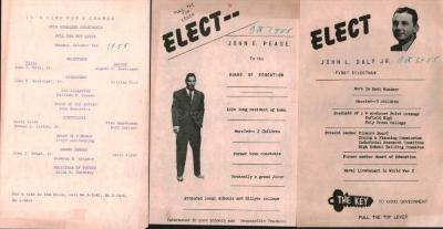 An Election flyer for John L. Daly, Jr., First Selectman and John E Pease, for Board of Education. .Dated October 1955..