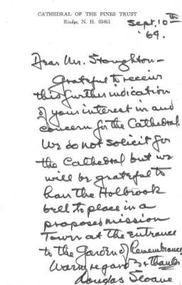 "A letter from Cathedral of the Pines Trust, Rindge, NH  A letter on EWHS stationery to ""John"" regarding the John Fitch re-unveiling of the granite marker erected in 1914."