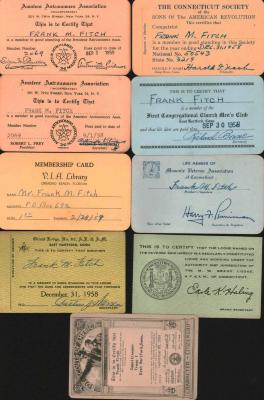 Frank M. Fitch membership cards