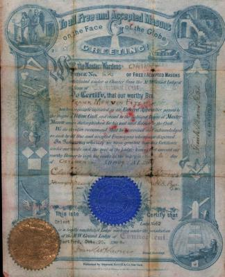 Certificate of acceptance of Frank Mervin Fitch as an apprentice in Orient Lodge No 62.