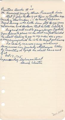 Preston Deeds (III-24?)  John Parke-Release of Negro