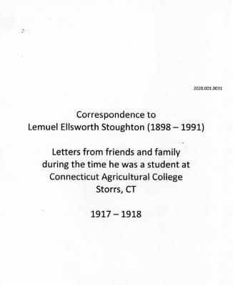 Correspondence to L. Ellsworth Stoughton