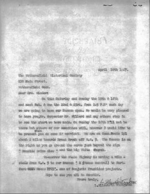 Letter from L. Ellsworth Stoughton to Wethersfield Historical Society (Mrs. Wieder)