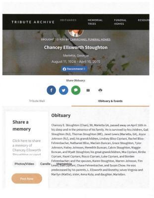 Chancey Ellsworth Stoughton Obituary