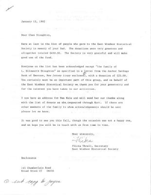 Letter from Flicka Thrall to Chan Stoughton