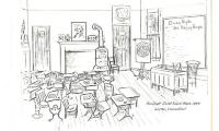 Hurlbutt Street Schoolhouse Interior Illustration
