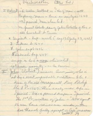 """Notes from """"A brief genealogical history of Robert Starkweather of Roxbury and Ipswich, Massachusetts...)"""