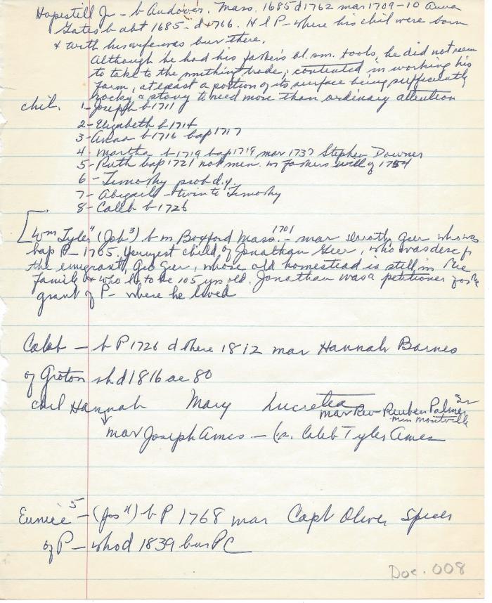 Genealogy of Hopestill Tyler Jr. et. al.