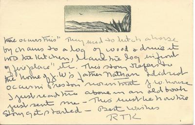 Postcard re: Driving logs into the house