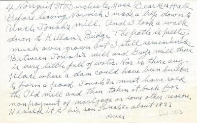 Letter from Dr. H.W. Beckwith re:  Jonah's Mill