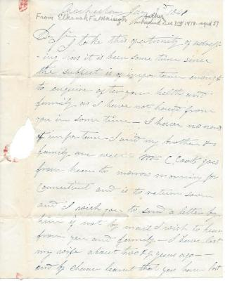 Letter from Elkanah Fanning Jr.