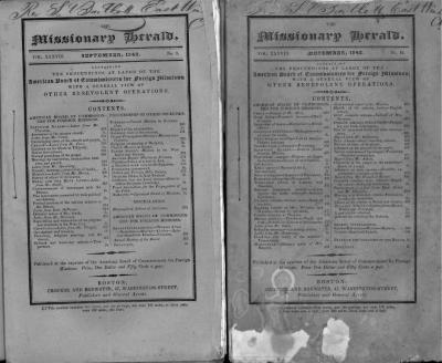 The Missionary Herald (4 copies). September 1842, October 1842, November 1842, December 1842.
