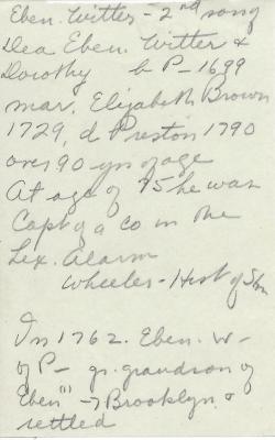 Note on Eben. Witter Jr.