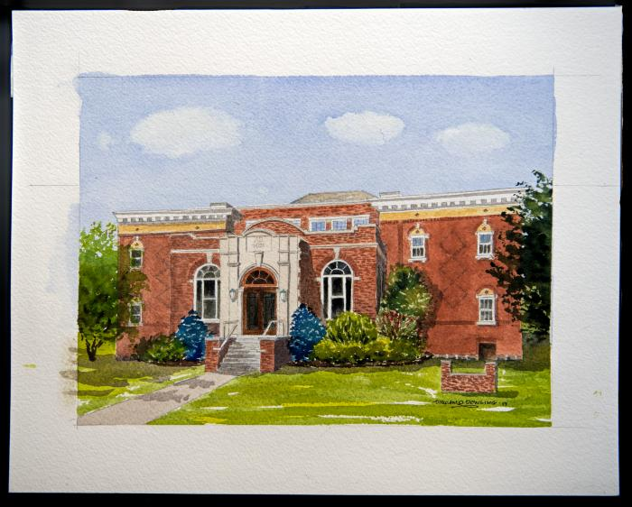Painting - watercolor of Hand Academy