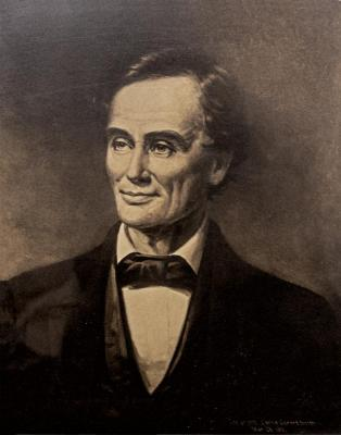 Photograph of a portrait of 'smiling' Abraham Lincoln - 1860